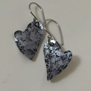 Textured Hearts Earrings (Aluminum)